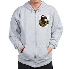 Chocolate Labrador Santa Zip Hoodie