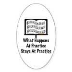 What Happens At Practice Band Oval Sticker (50 pk)