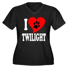 I Love Twilight Women's Plus Size V-Neck Dark T-Sh