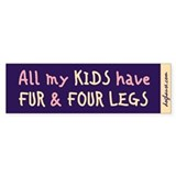 Fur and Four Legs Bumper Sticker (grape)