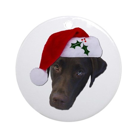 Christmas Lab Ornament (Round)