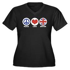 Peace Love Britain Women's Plus Size V-Neck Dark T