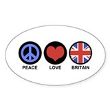 Peace Love Britain Oval Decal