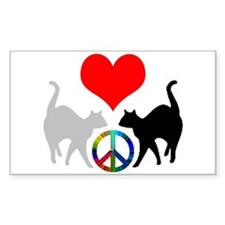 Love & peace Rectangle Decal