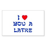 I Love You a Latke Rectangle Sticker 10 pk)