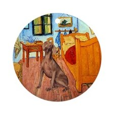 Weimaraner in Van Gogh's Room Ornament (Round)