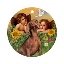 Angels & Weimaraner Ornament (Round)