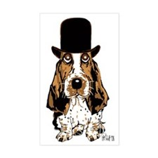British hat Basset Hound Rectangle Decal