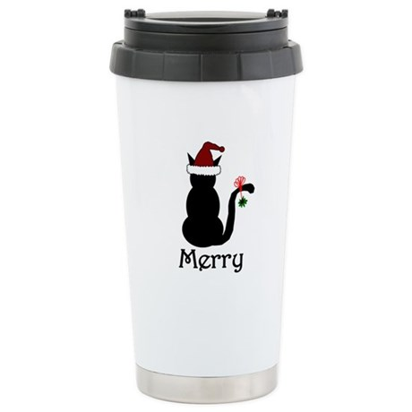 Merry Cat Christmas Ceramic Travel Mug
