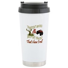 Drivin' Trucks & Huntin' Bucks Ceramic Travel Mug