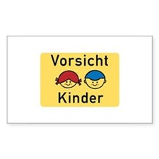 Caution Children, Germany Rectangle Sticker 10 pk