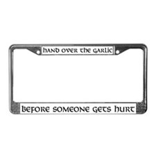 Hand over the garlic License Plate Frame