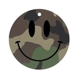 Camo Smiley Face Christmas Ornament (Round)