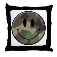 Camo Smiley Face Throw Pillow