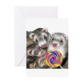 Ferrets with Lollipop Greeting Card