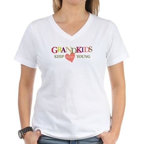 grandkids keep hearts young t-shirt Women's V-Neck