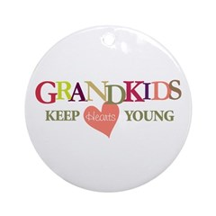 grandkids keep hearts young t-shirt Ornament (Roun