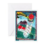 Lighthouse Christmas Lights Greeting Cards (Pk of