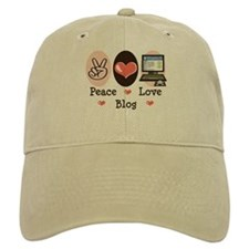Peace Love Blog Blogging Baseball Cap