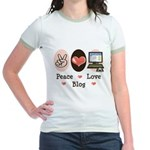 Peace Love Blog Blogging Jr. Ringer T-Shirt