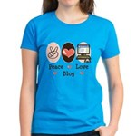 Peace Love Blog Blogging Women's Dark T-Shirt