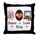 Peace Love Blog Blogging Throw Pillow