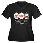Peace Love Blog Women's Plus Size V-Neck Dark T-Sh
