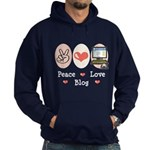 Peace Love Blog Blogging Hoodie (dark)