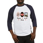 Peace Love Blog Blogging Baseball Jersey