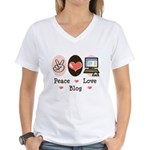 Peace Love Blog Blogging Women's V-Neck T-Shirt
