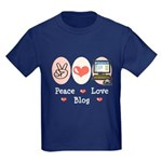 Peace Love Blog Blogging Kids Dark T-Shirt