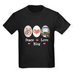 Peace Love Blog Kids Dark T-Shirt