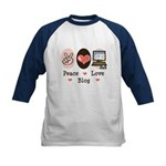 Peace Love Blog Blogging Kids Baseball Jersey