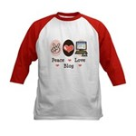 Peace Love Blog Kids Baseball Jersey