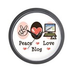 Peace Love Blog Blogging Wall Clock