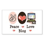 Peace Love Blog Blogging Rectangle Sticker