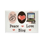 Peace Love Blog Blogging Rectangle Magnet (10 pack