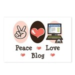 Peace Love Blog Blogging Postcards (Package of 8)