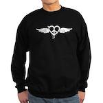 Heart Peace Wing in Black Sweatshirt (dark)