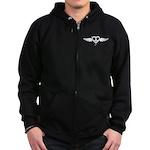 Heart Peace Wing in Black Zip Hoodie (dark)