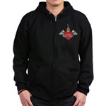 Mother's Day : Mom heart Zip Hoodie (dark)