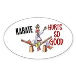 Karate Duck 3 Oval Sticker
