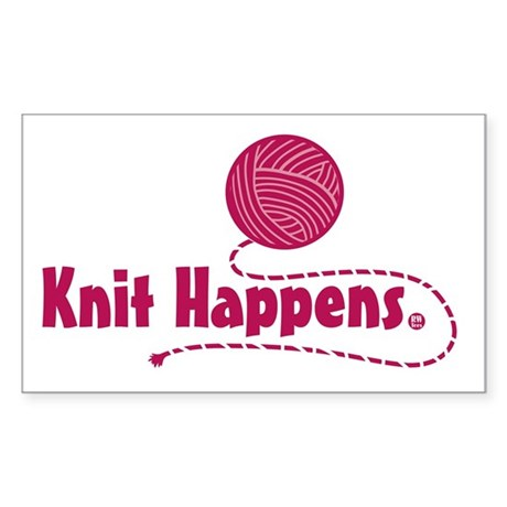 Knit Happens Rectangle Sticker