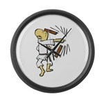 Funny Man Breaking Board 1 Large Wall Clock