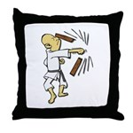 Funny Man Breaking Board 1 Throw Pillow