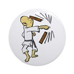 Funny Man Breaking Board 1 Ornament (Round)