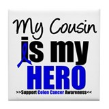 Colon Cancer Hero Tile Coaster