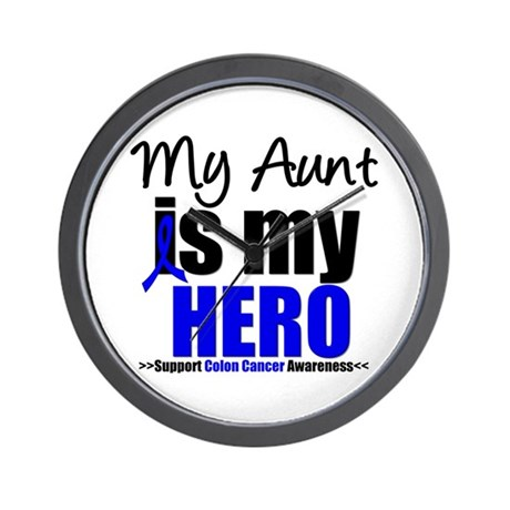 Colon Cancer Hero Wall Clock