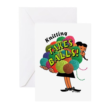 Knitting Takes Balls Greeting Cards (Pk of 10)