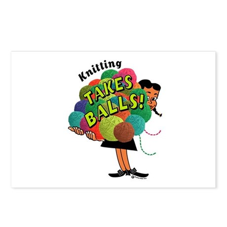 Knitting Takes Balls Postcards (Package of 8)